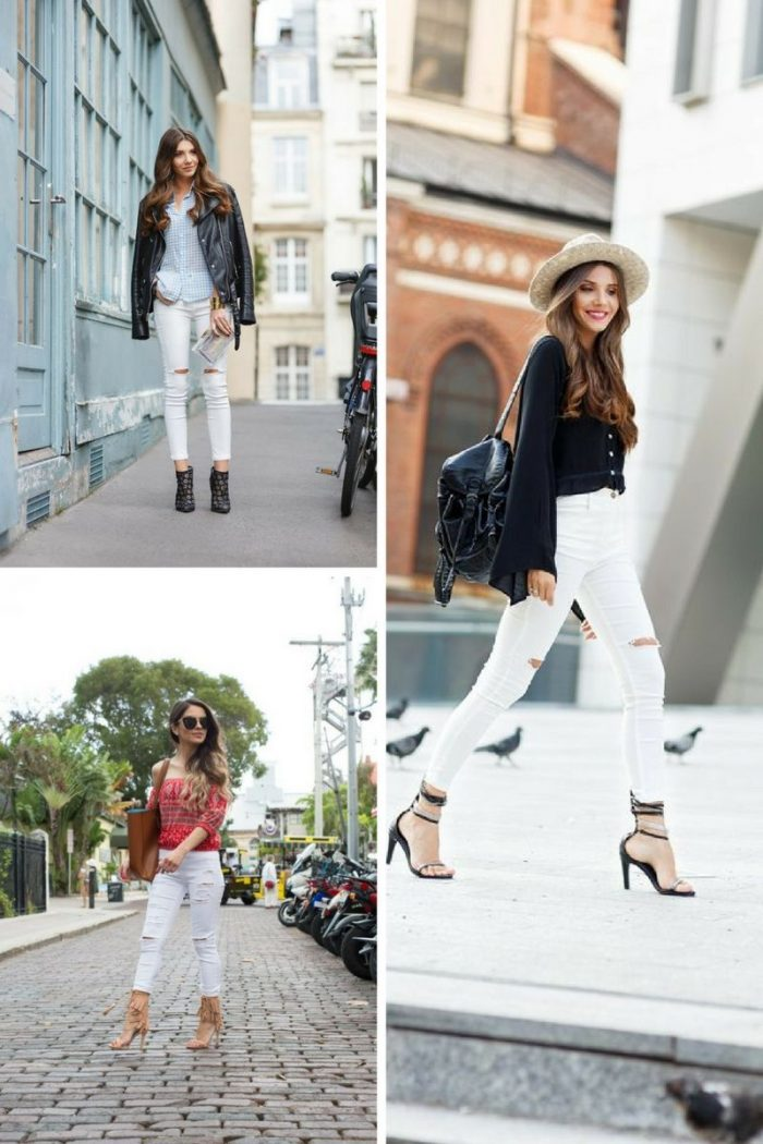Street Looks Of White Ripped Jeans For Ladies 2019