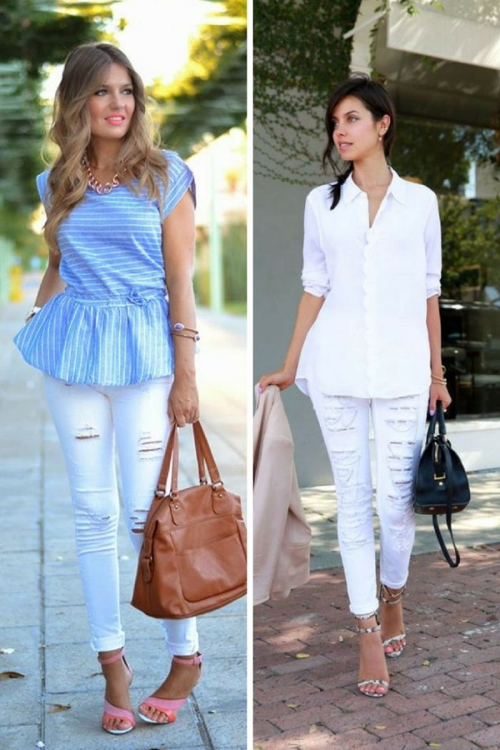 White Ripped Jeans For Women 2018 Best Combos (4)