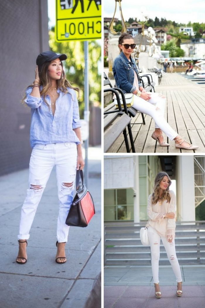 White Ripped Jeans For Women 2018 Best Combos (7)
