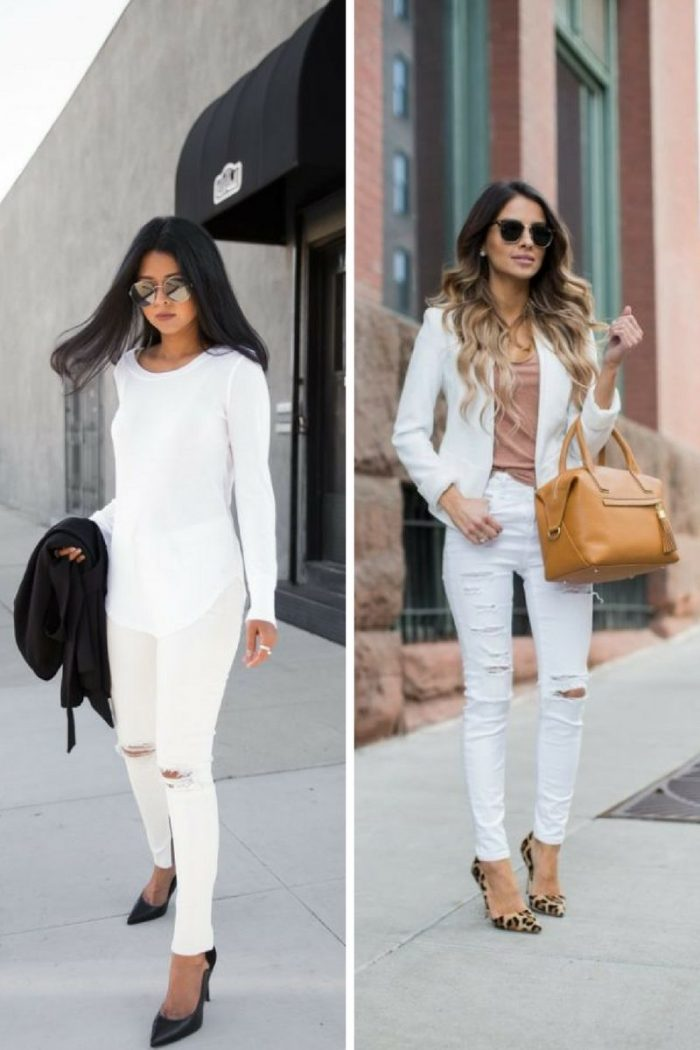 White Ripped Jeans For Women 2018 Best Combos (8)