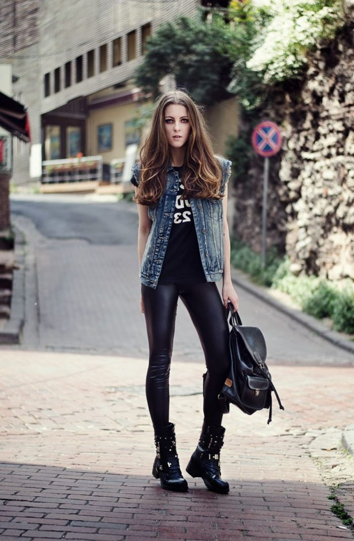2018 Best Denim and Leather Combos For Women (1)