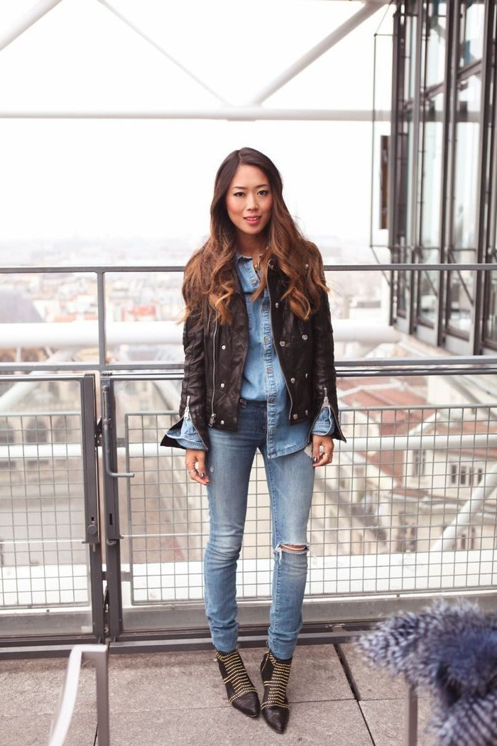 2018 Best Denim and Leather Combos For Women (14)