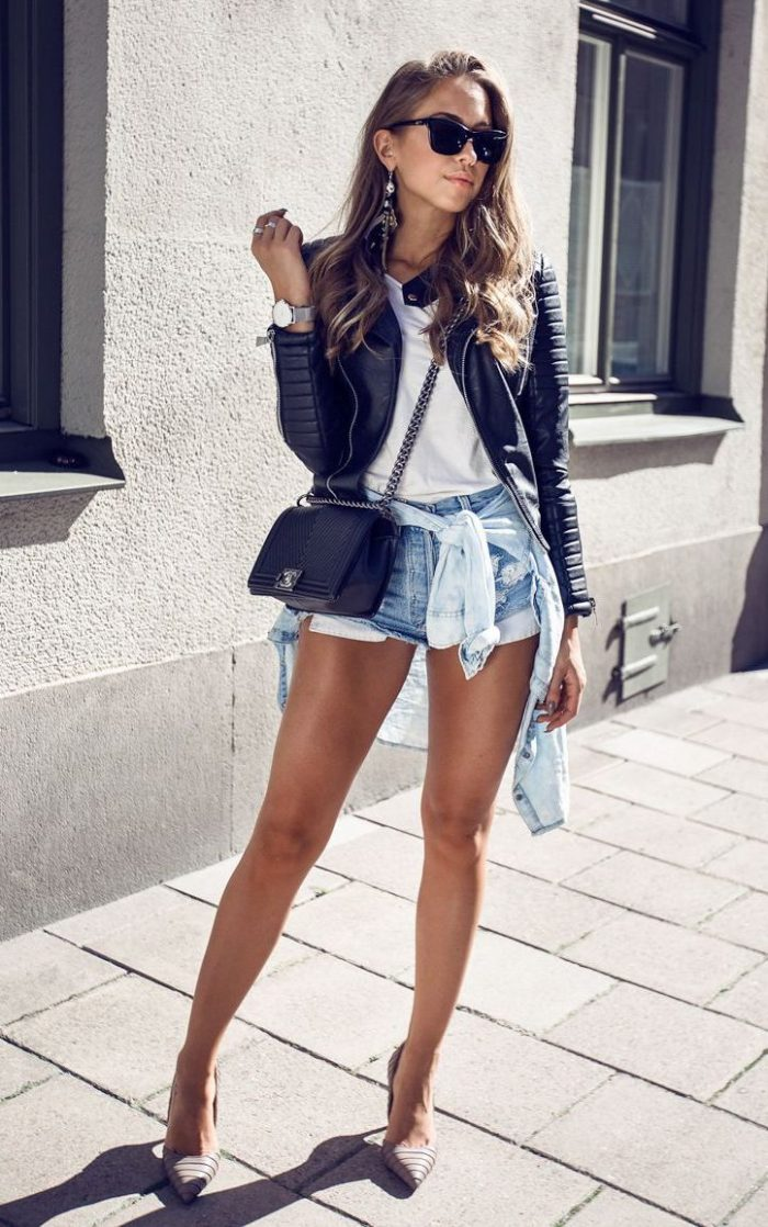 2018 Best Denim and Leather Combos For Women (15)