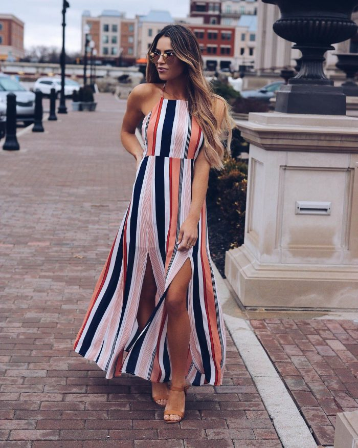 2018 Striped Print Clothes For Women (5)