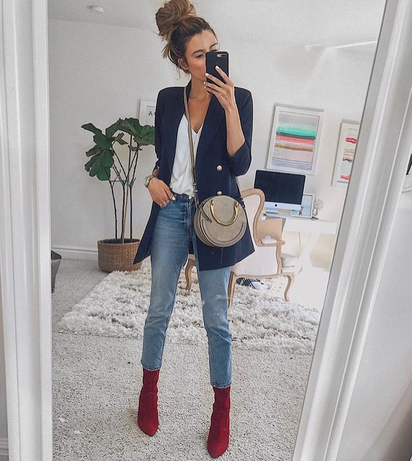 How To Wear Cherry Red Suede Ankle Boots With Navy Blazer 2020