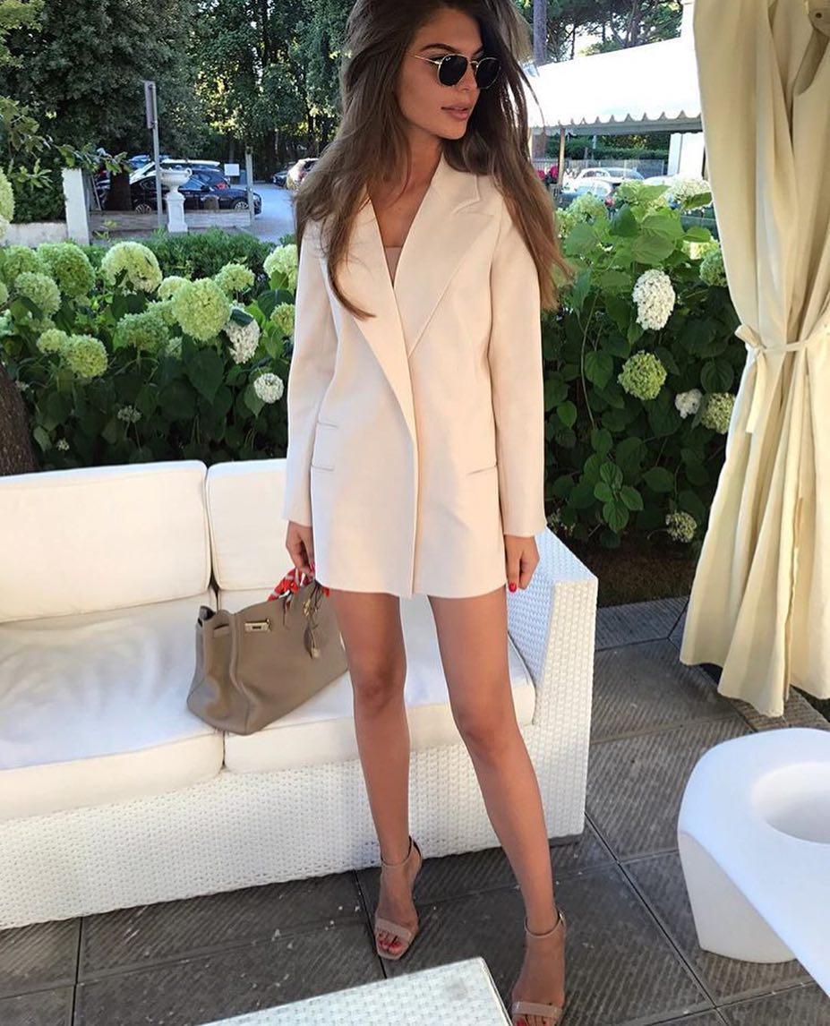 Pastel Blush Long Blazer Worn As A Dress This Summer 2020
