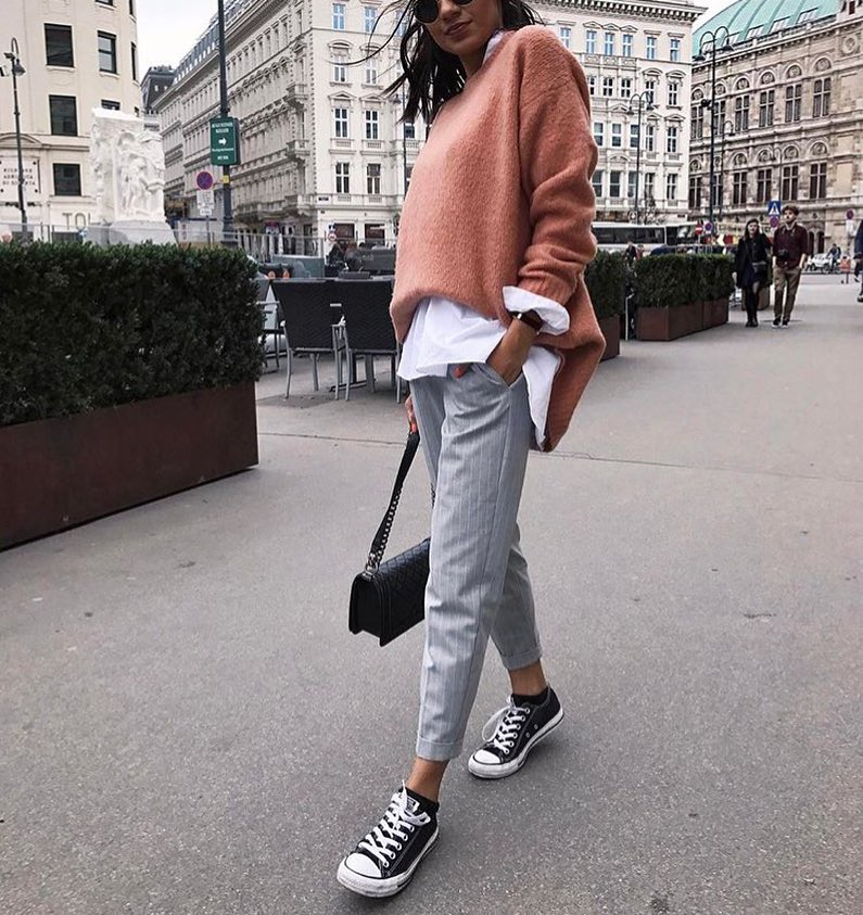 Blush Sweater Over White Shirt A Layered Outfit For Spring 2019