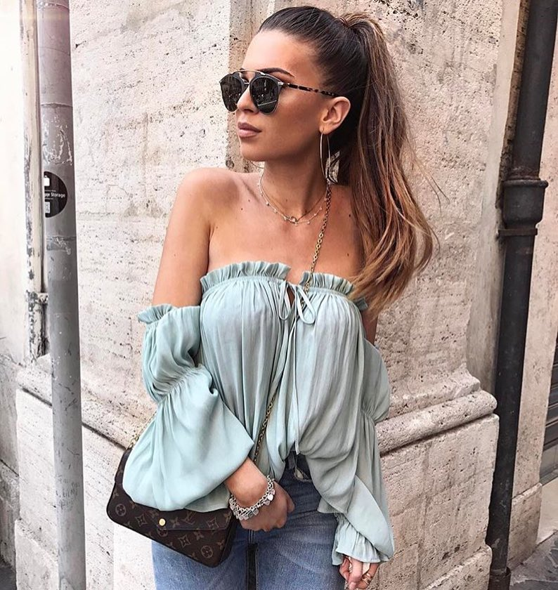 Off Shoulder Top In Pastel Turquoise For Summer Casual Days 2020