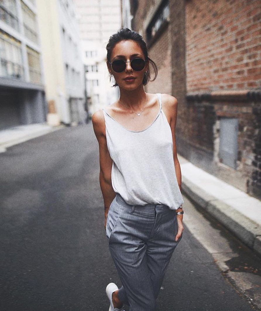 White Vest Top And Tailored Grey Pants For Summer 2019