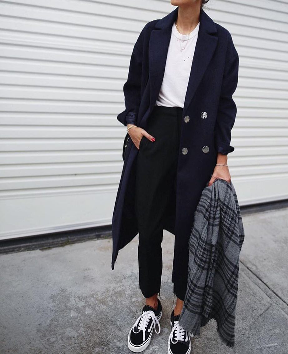 Oversized Double Breasted Coat In Navy For Normcore Lovers 2019