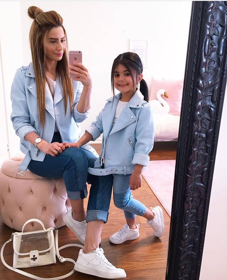 Biker Jacket in Light Blue With Jeans And White Sneakers For Summer 2019