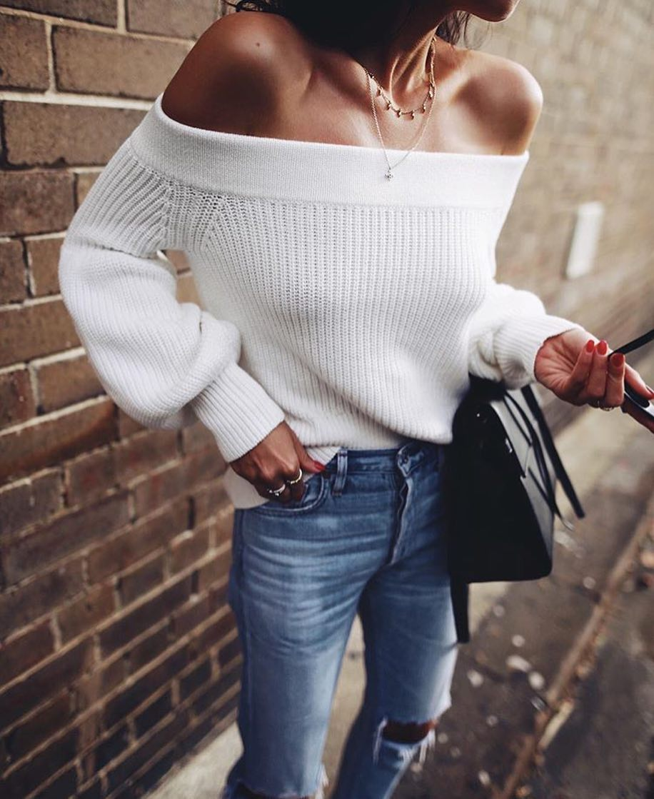 How To Wear White Off-Shoulder Sweater This Spring 2019