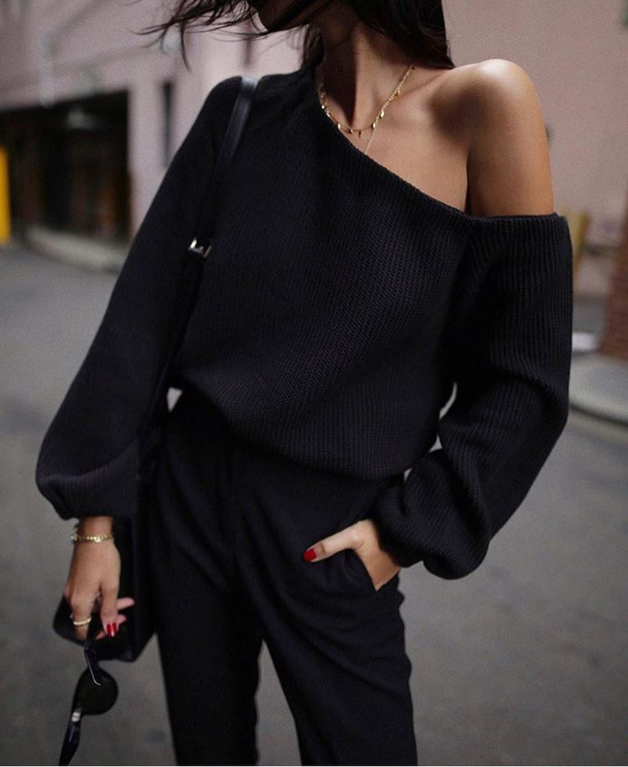 All In Black With An Off Shoulder Black Sweater For Spring 2020