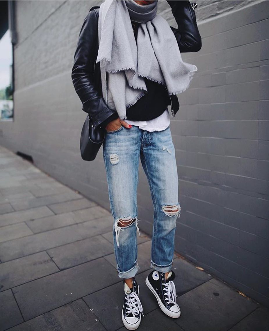How To Wear Black Leather Jacket And Grey Scarf This Spring 2019