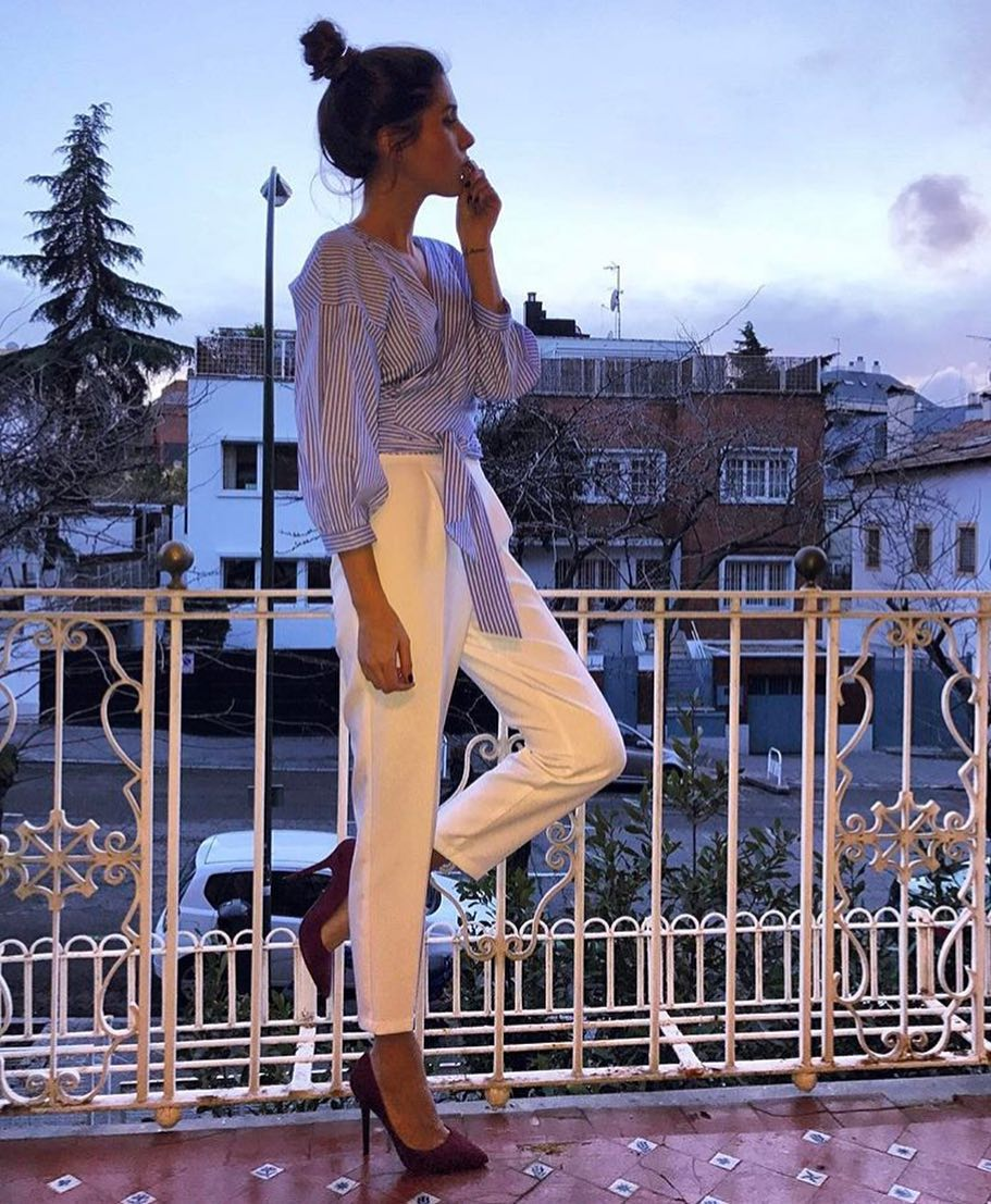 Simple Spring Look: Pinstripe Wrap Blouse And White Tailored Pants 2020