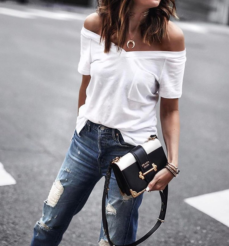How To Wear Off Shoulder White T-Shirt This Summer 2020