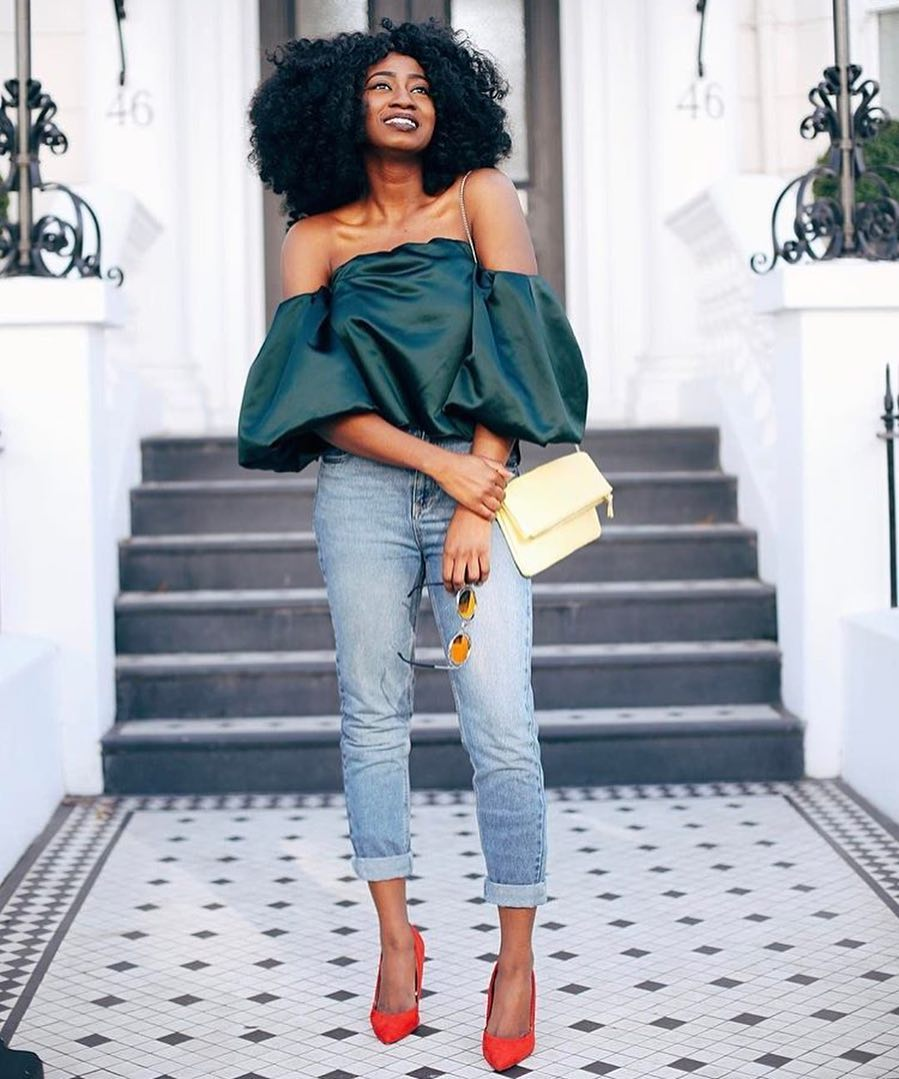 Emerald Green Off-Shoulder Short Puff Sleeve Top And Cuffed Slim Jeans For Summer 2020