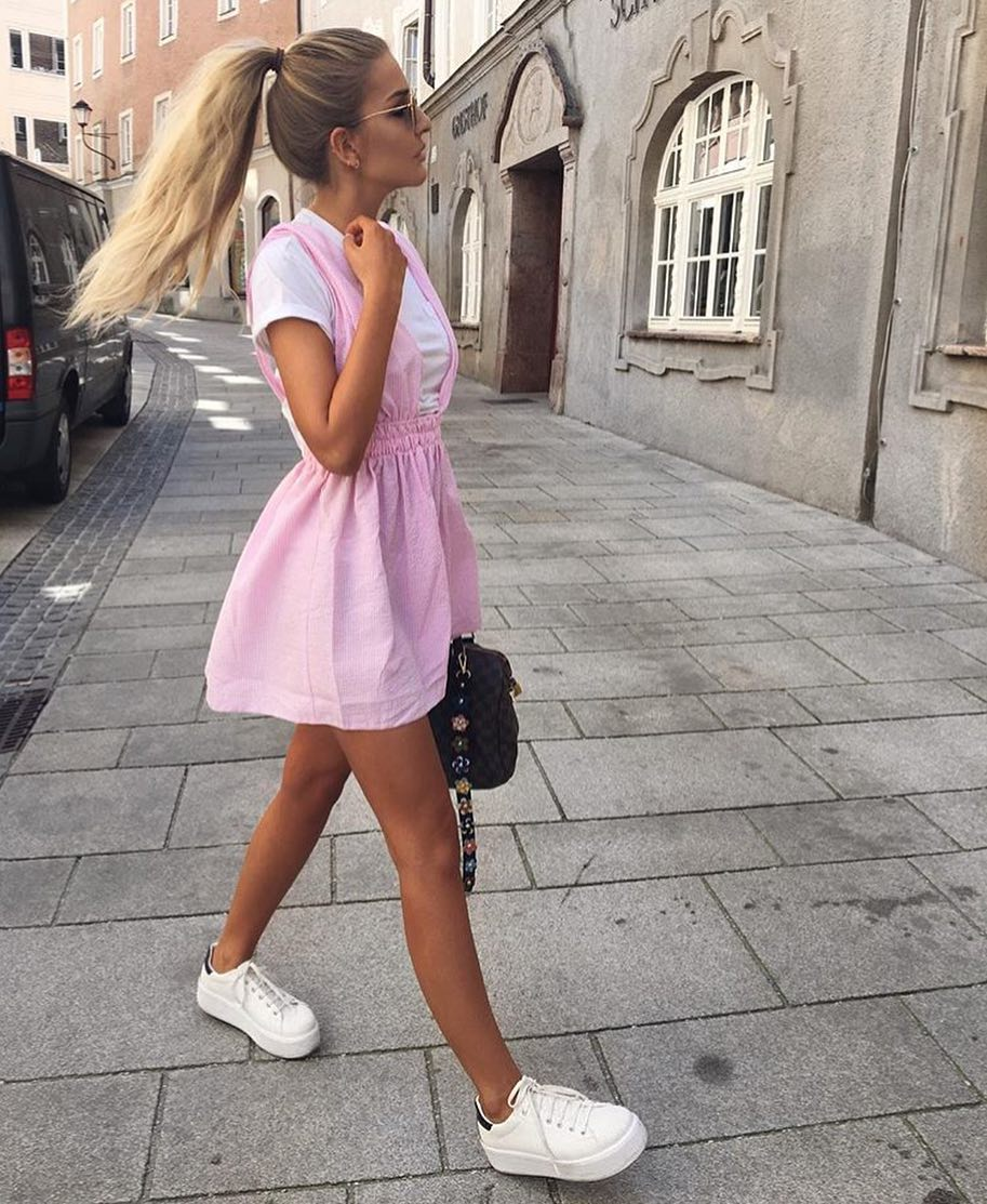 How To Wear Pink Dress Over White T-shirt This Summer 2019