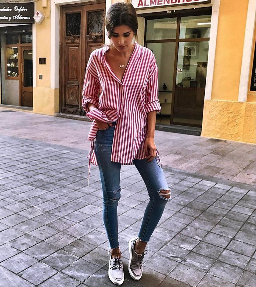 How To Wear Long White-Red Pinstripe Shirt This Summer 2019