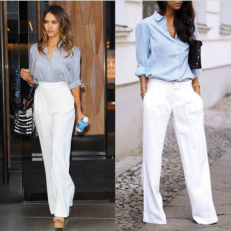 White Palazzo Pants And Blue Chambray Shirt Combination For Summer 2019