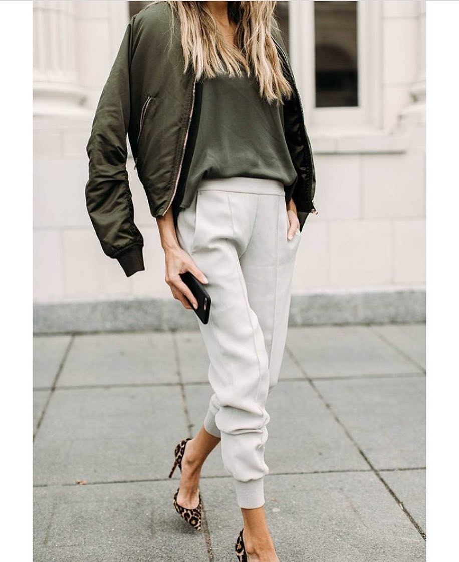Beige Tailored Joggers And Green Bomber Spring Combo 2019