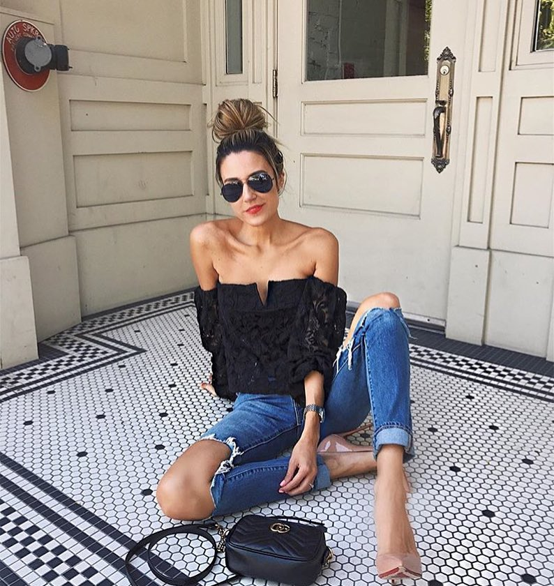 Strapless Lace Black Top And Ripped Jeans For Summer 2020