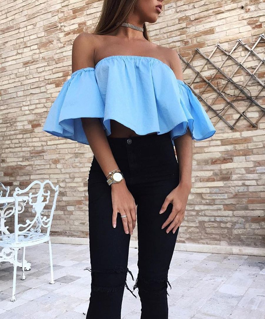 How To Wear Bright Blue Off Shoulder Ruffle Crop Top 2019