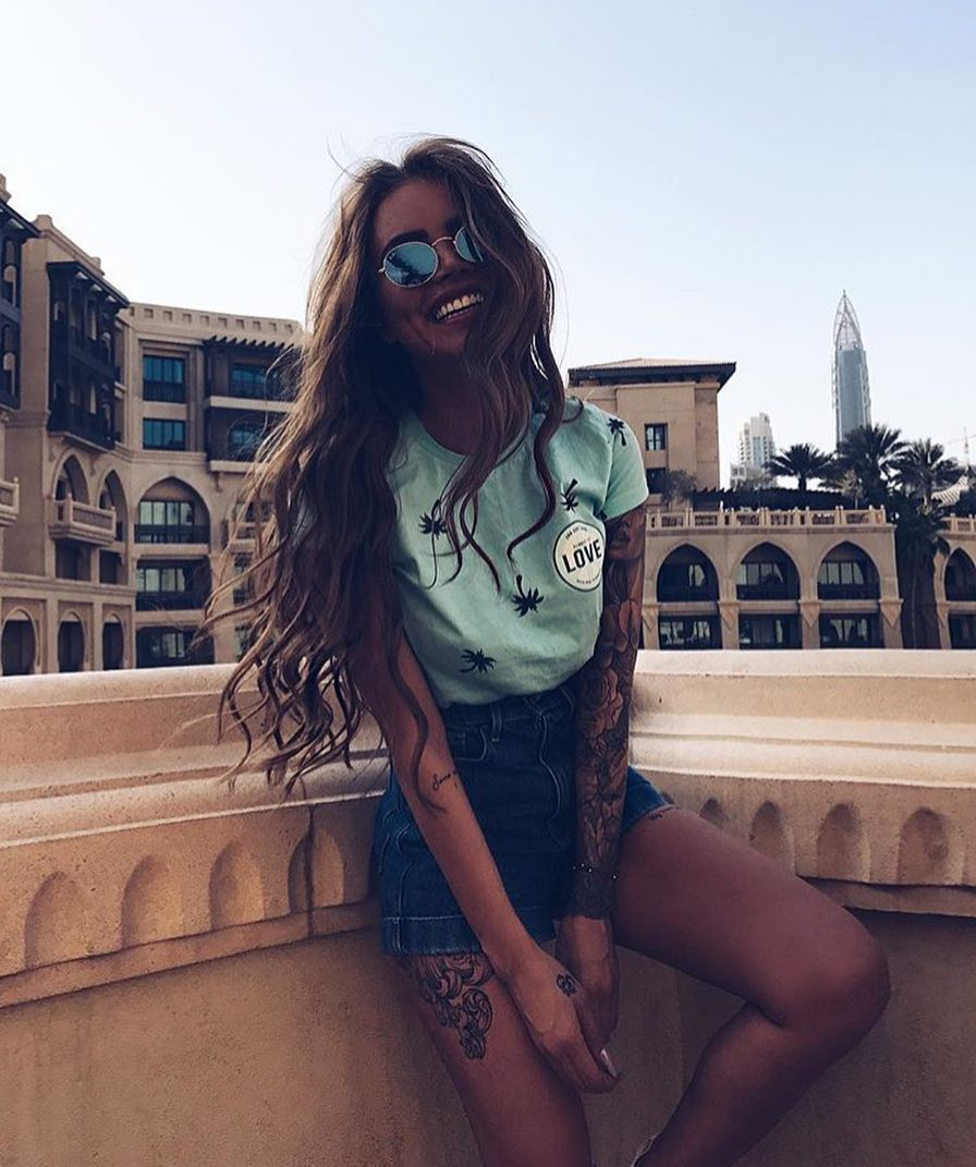 Turquoise T-Shirt And Denim Shorts For Summer Vacation 2019