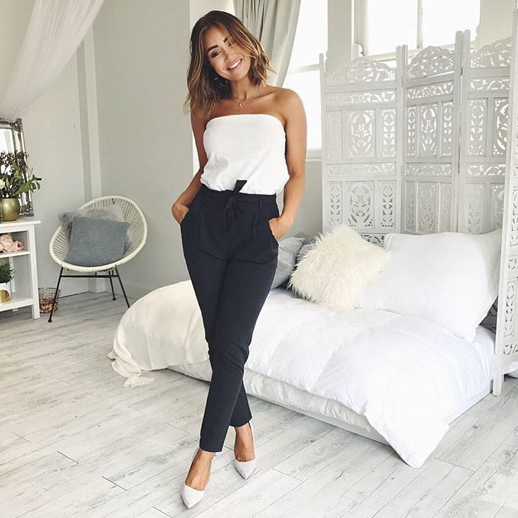 Strapless White Top And Gathered Black Pants For Summer 2019