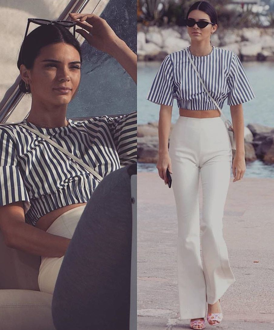 Pinstripe Crop Top And High Rise Flared Pants For Summer Vacation 2019