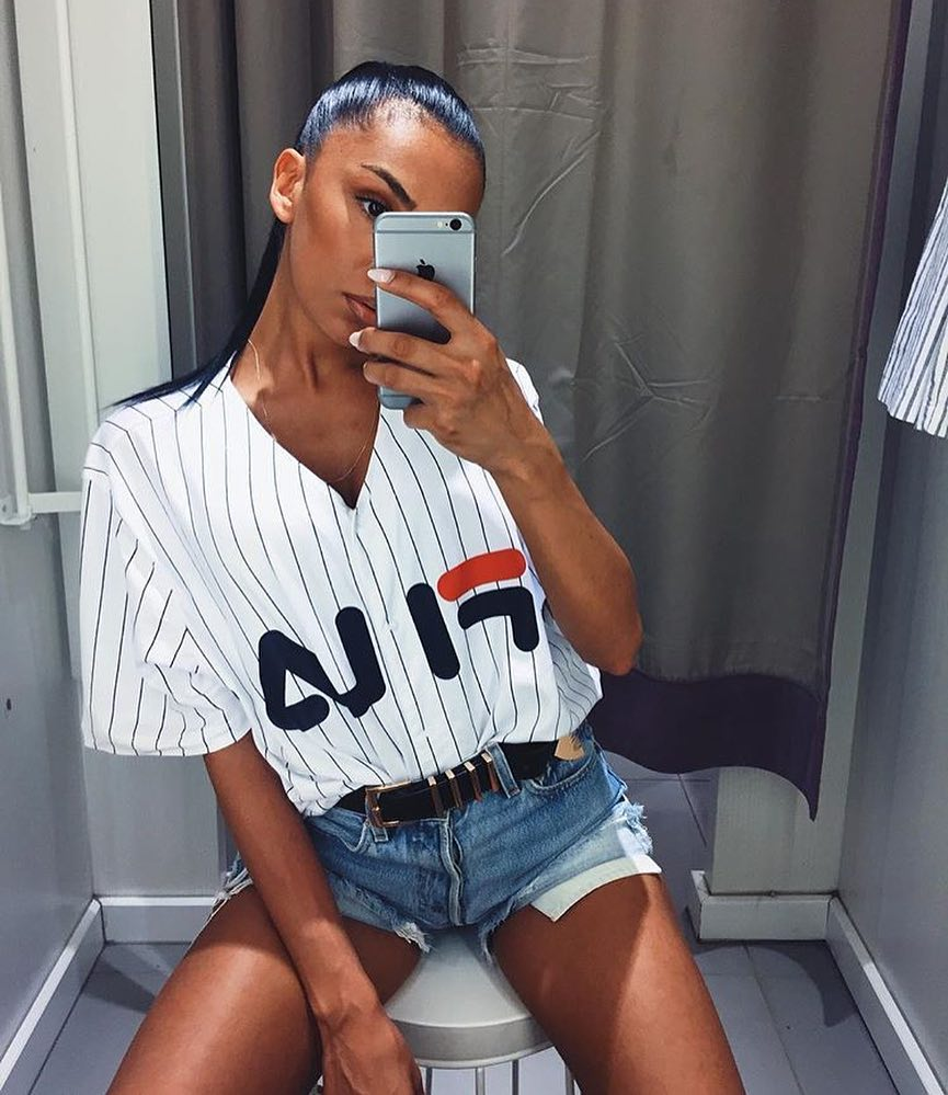 Pinstripe V-neck White Button Shirt And Denim Shorts For Summer 2019