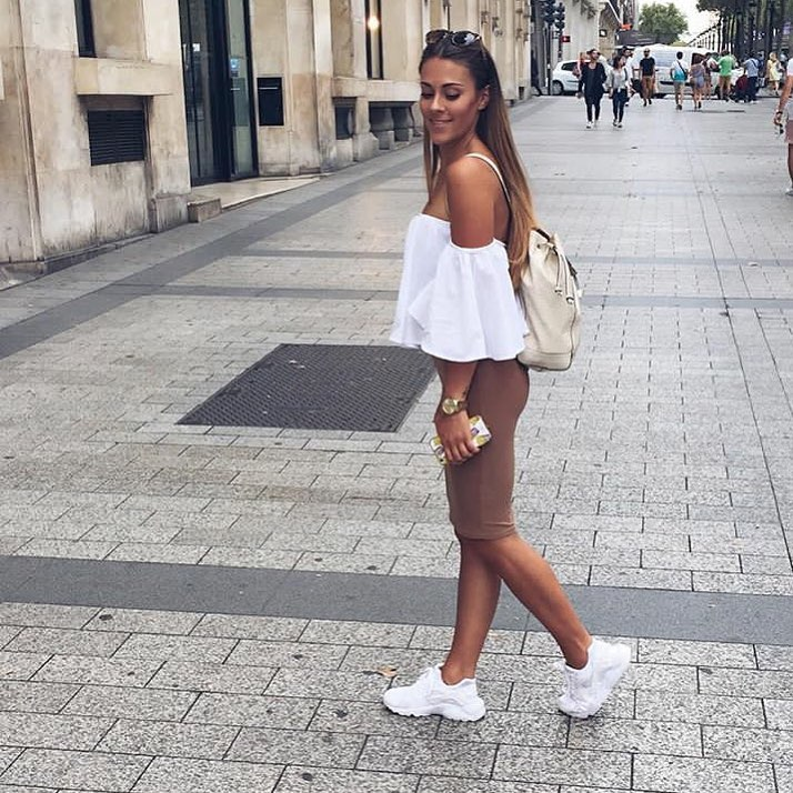Off-Shoulder White Top And Beige Pencil Skirt For Italian Summer Vacation 2019
