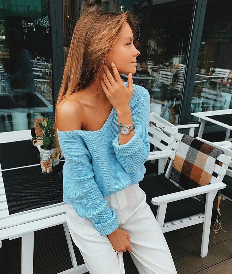 Off Shoulder Sky Blue Sweater For Spring 2019