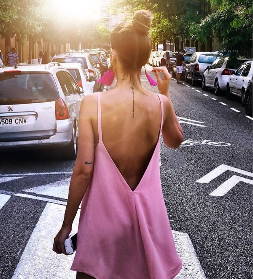 Blush Silk Slip Tank Dress With A V-Open Back For Summer Trip 2019