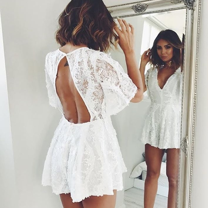 White Lace Romper With Open Back For Summer 2020