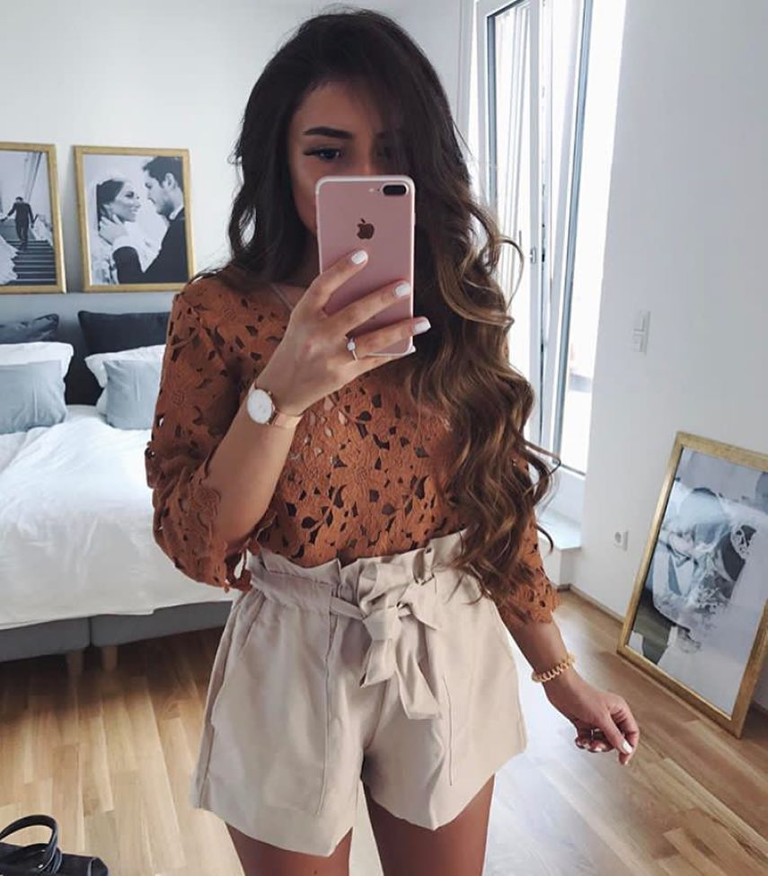 Beige Gathered Belted Shorts And Crochet Top For Summer 2019