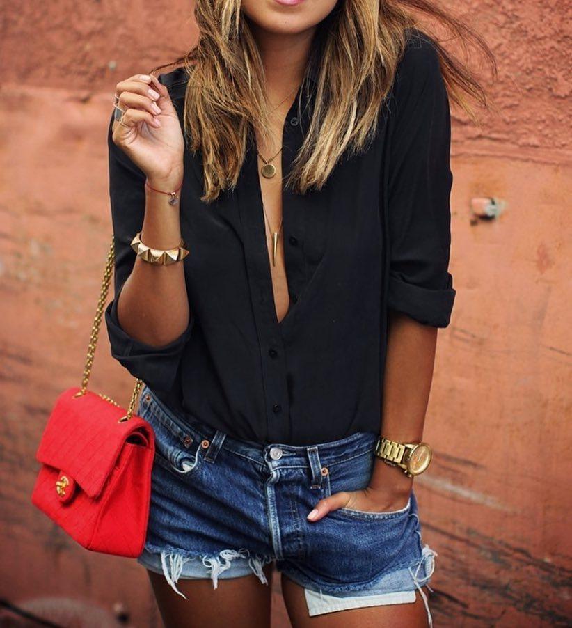 Black Shirt And Blue Denim Shorts For Summer 2021