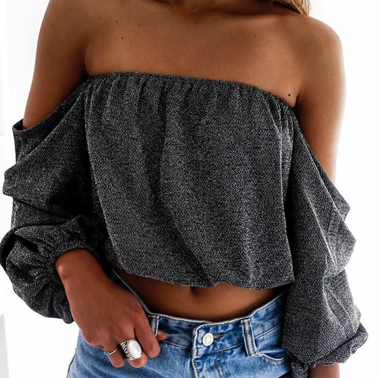 Drop Shoulder Strapless Grey Top For Young Women 2020