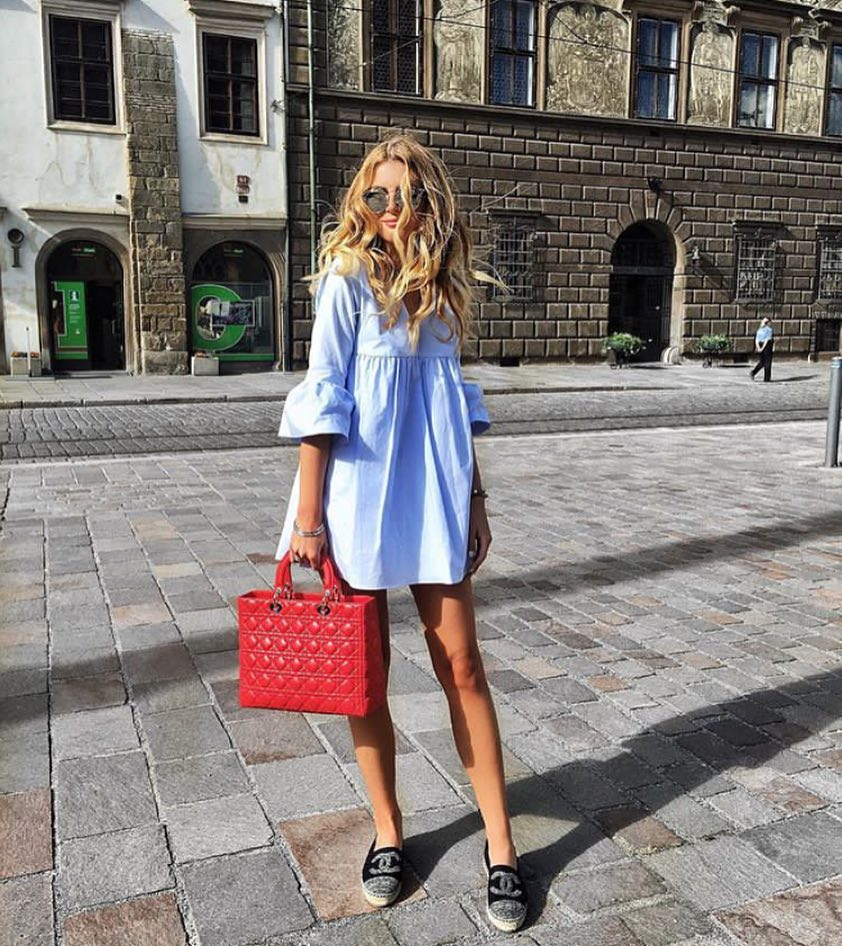 1/2 Bell Sleeve Tunic Dress In Blue For Summer 2019