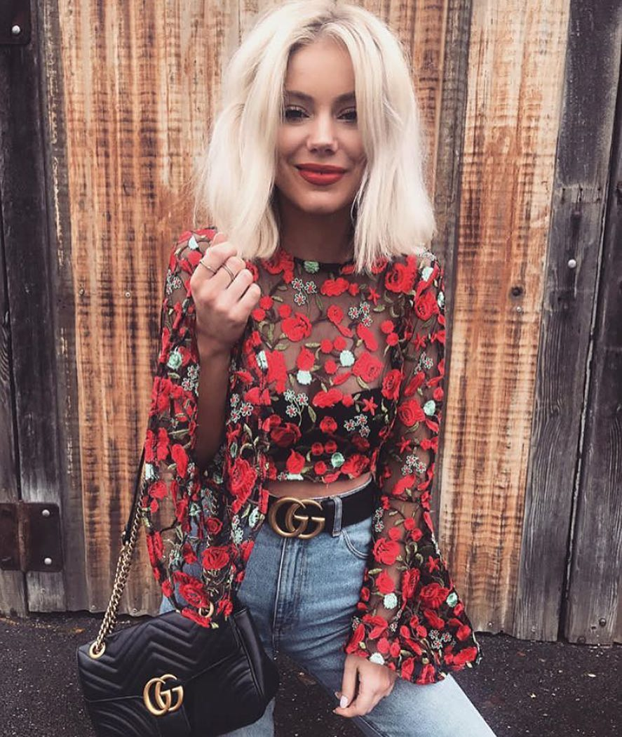Floral Print Lace Crop Blouse With Bell Sleeves For Summer 2019