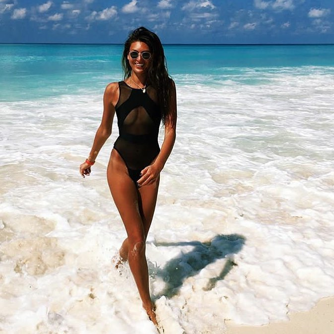 One Piece Swimsuit In Black With Sheer Details For Summer 2020