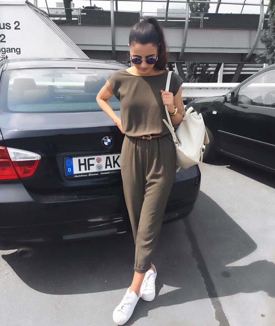 Khaki Jumpsuit With White Sneakers For Summer 2021