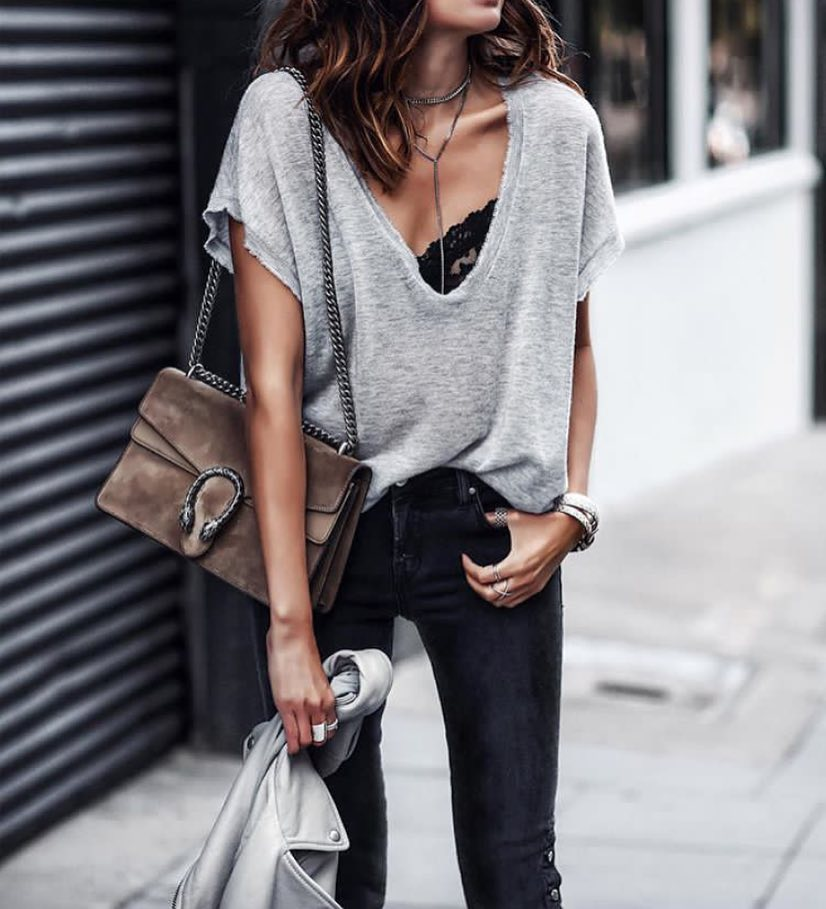 Modern Grunge: Grey Oversized T-shirt With Black Lace Bra Top And Black Skinny Jeans 2020