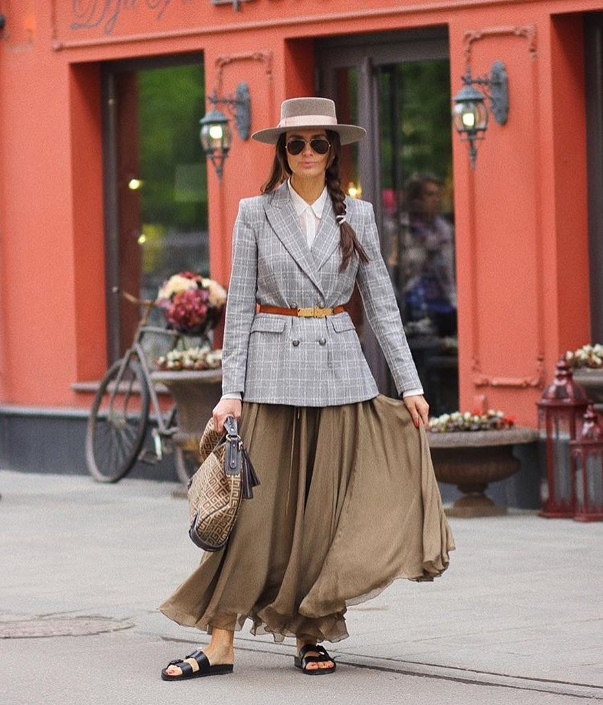 Double Breasted Blazer And Khaki Green Maxi Skirt For Spring 2020