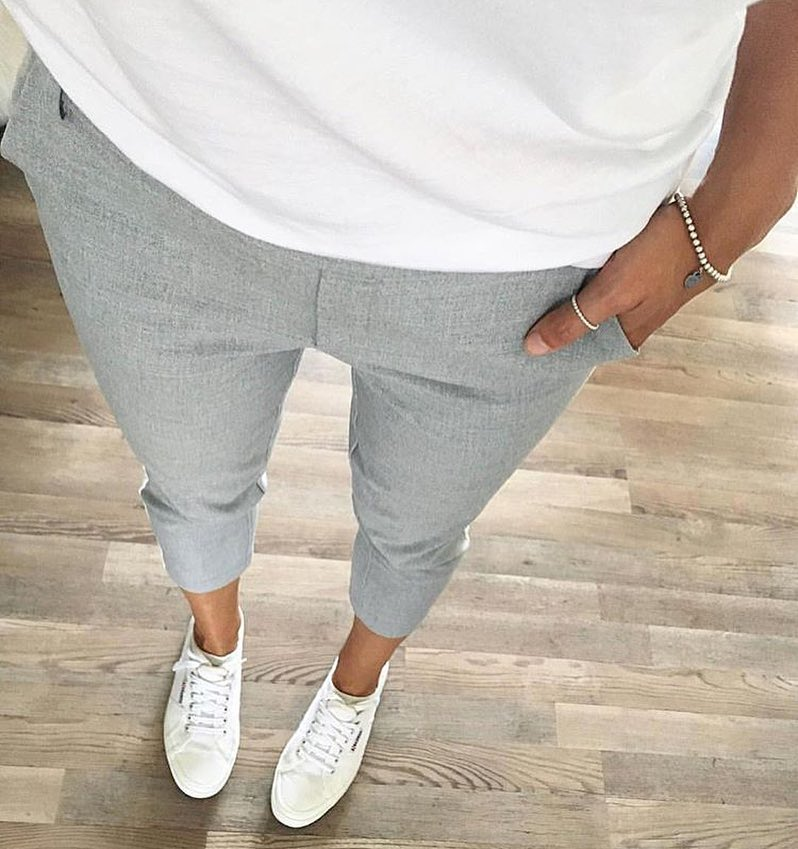 White Tee, Ankle Length Grey Pants And White Sneakers For Summer 2020