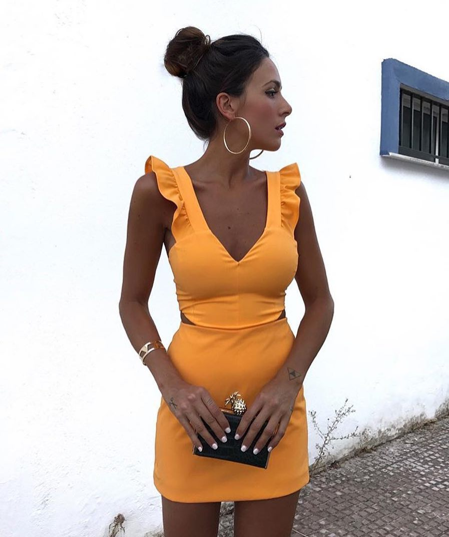 Orange Slim Dress With Ruffled Details For Summer 2020