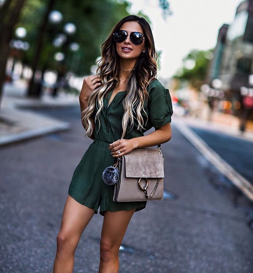 Linen Military Green Romper For Summer 2019