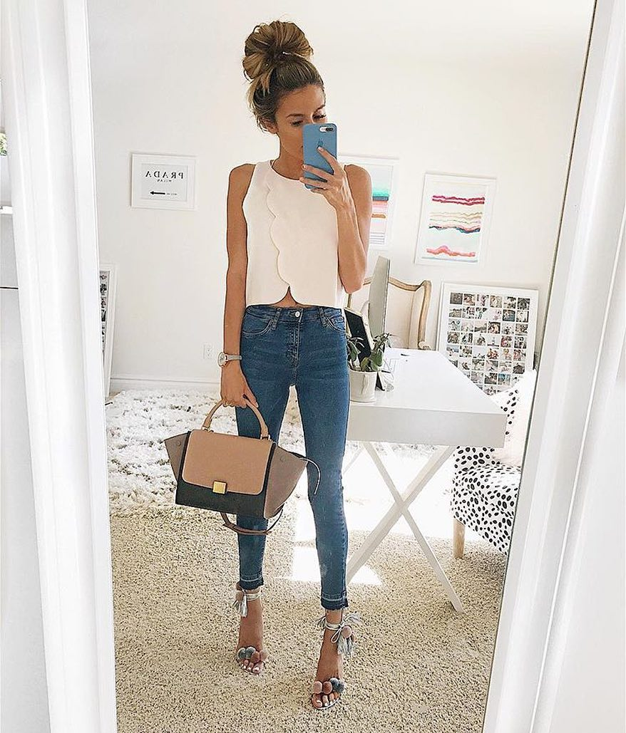 Scalloped Detail White Top And Blue Skinny Jeans For Summer 2019