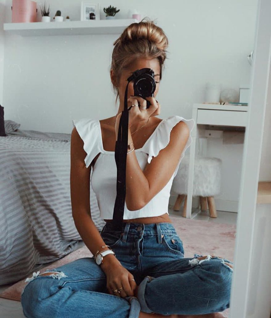 White Crop Top With Ruffled Straps And Boyfriend Jeans 2020
