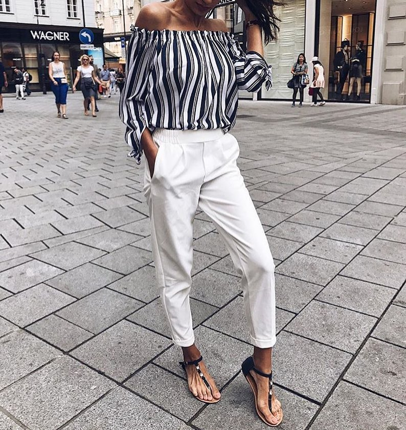 Summer Office Outfit Idea: Off-Shoulder Pinstripe Blouse And White Pants 2021